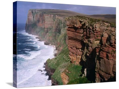 Old Red Sandstone Cliffs Toward St. Johns Head, Hoy, Orkney Islands, Scotland-Grant Dixon-Stretched Canvas Print