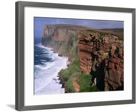 Old Red Sandstone Cliffs Toward St. Johns Head, Hoy, Orkney Islands, Scotland-Grant Dixon-Framed Art Print