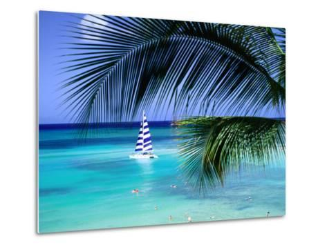 Palm Tree, Swimmers and a Boat at the Beach, Waikiki, U.S.A.-Ann Cecil-Metal Print