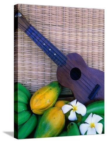 Green Bananas, Papayas, Plumeria and Ukulele, U.S.A.-Ann Cecil-Stretched Canvas Print