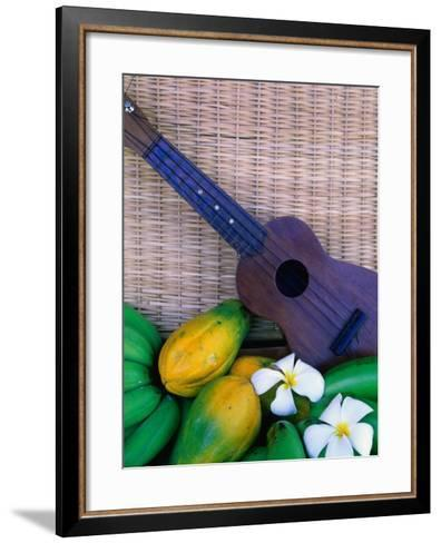 Green Bananas, Papayas, Plumeria and Ukulele, U.S.A.-Ann Cecil-Framed Art Print