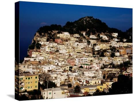Pastel Coloured Houses on Island, Capri, Italy-Pershouse Craig-Stretched Canvas Print