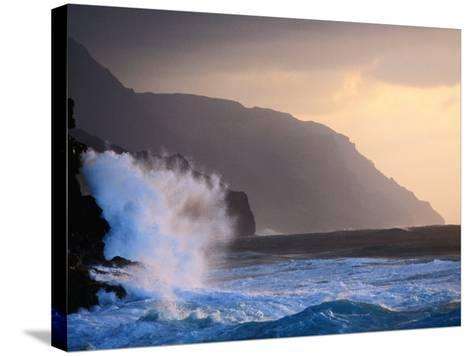 Surf Pounding Against Na Pali Coastal Cliffs at Dawn, United States of America-Philip Smith-Stretched Canvas Print