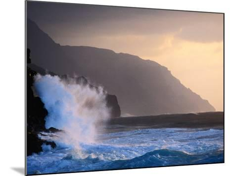 Surf Pounding Against Na Pali Coastal Cliffs at Dawn, United States of America-Philip Smith-Mounted Photographic Print