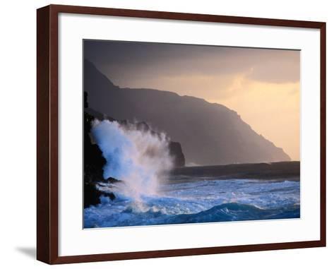 Surf Pounding Against Na Pali Coastal Cliffs at Dawn, United States of America-Philip Smith-Framed Art Print