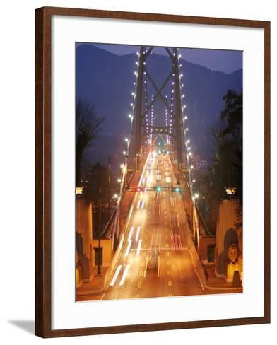 Lion's Gate Bridge Early Evening, Stanley Park, Vancouver, Canada-Lawrence Worcester-Framed Art Print