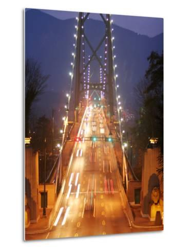 Lion's Gate Bridge Early Evening, Stanley Park, Vancouver, Canada-Lawrence Worcester-Metal Print