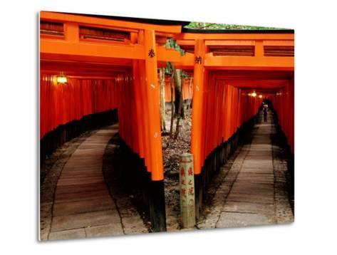 Torri Gates Lining Mountain Pathways at Fushimi-Inari, Kyoto, Japan-Frank Carter-Metal Print
