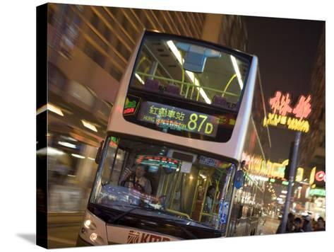 Double-Decker Bus on Nathan Road, Tsim Sha Tsui, Kowloon, China-Holger Leue-Stretched Canvas Print