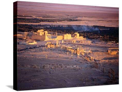 Sunset Over Ruins of Ancient City of 17th Century Arab Castle, Qala'At Ibn Maan, Syria-Tony Wheeler-Stretched Canvas Print