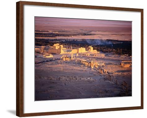 Sunset Over Ruins of Ancient City of 17th Century Arab Castle, Qala'At Ibn Maan, Syria-Tony Wheeler-Framed Art Print