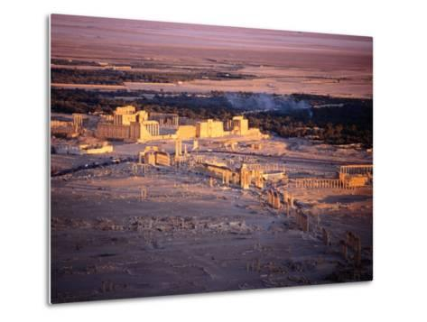 Sunset Over Ruins of Ancient City of 17th Century Arab Castle, Qala'At Ibn Maan, Syria-Tony Wheeler-Metal Print