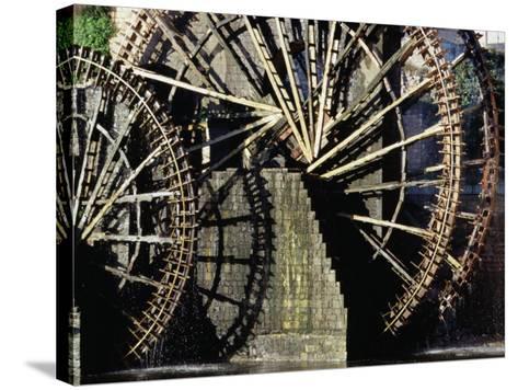Triple Noria (Wooden Water Wheel), Hama, Syria-Tony Wheeler-Stretched Canvas Print