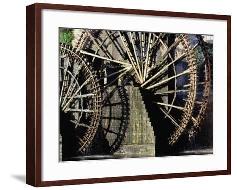 Triple Noria (Wooden Water Wheel), Hama, Syria-Tony Wheeler-Framed Art Print