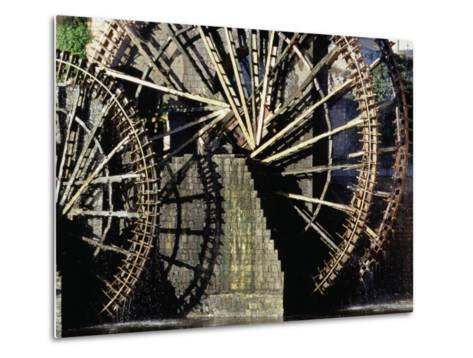 Triple Noria (Wooden Water Wheel), Hama, Syria-Tony Wheeler-Metal Print