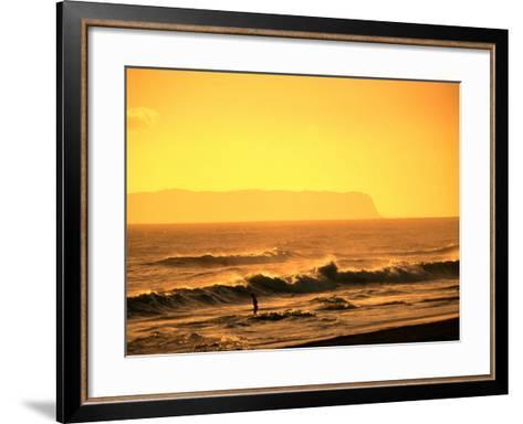 A Couple Frolicking in the Surf off Kekaha Beach with Niihau Island in the Distance, Kauai, Hawaii-Ann Cecil-Framed Art Print