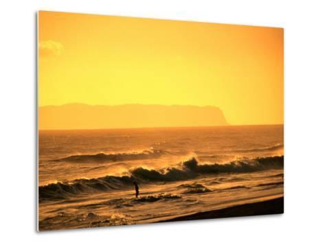 A Couple Frolicking in the Surf off Kekaha Beach with Niihau Island in the Distance, Kauai, Hawaii-Ann Cecil-Metal Print