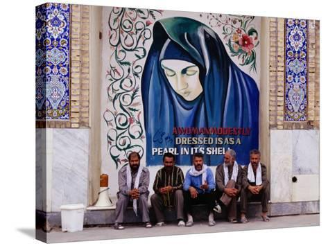A Group of Men Sitting in Front of a Mural in the Courtyard of the Tomb of Prophet Daniel, Iran-Patrick Syder-Stretched Canvas Print