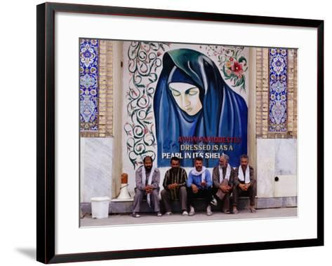 A Group of Men Sitting in Front of a Mural in the Courtyard of the Tomb of Prophet Daniel, Iran-Patrick Syder-Framed Art Print