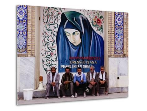 A Group of Men Sitting in Front of a Mural in the Courtyard of the Tomb of Prophet Daniel, Iran-Patrick Syder-Metal Print