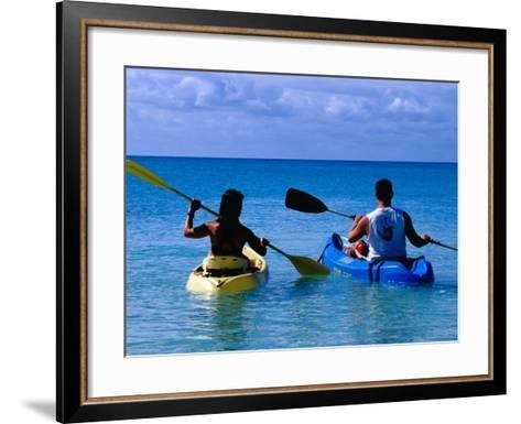 Man and Woman Kayaking on Fernandez Bay, Cat Island, Bahamas-Greg Johnston-Framed Art Print