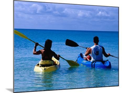 Man and Woman Kayaking on Fernandez Bay, Cat Island, Bahamas-Greg Johnston-Mounted Photographic Print