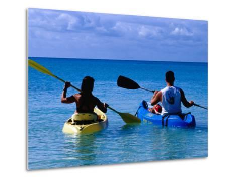Man and Woman Kayaking on Fernandez Bay, Cat Island, Bahamas-Greg Johnston-Metal Print