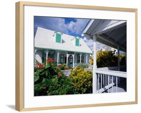 A View of Loyalist Homes and Gardens in Dunmore Town, Dunmore Town, Harbour Island, Bahamas-Greg Johnston-Framed Art Print