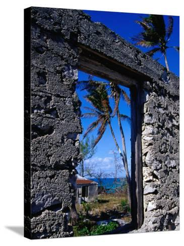 The View from an Abandoned Old Settlement Building by the Shore, Cat Island, Bahamas-Greg Johnston-Stretched Canvas Print