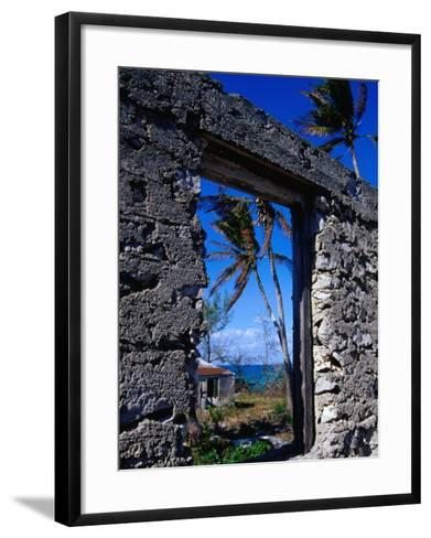 The View from an Abandoned Old Settlement Building by the Shore, Cat Island, Bahamas-Greg Johnston-Framed Art Print