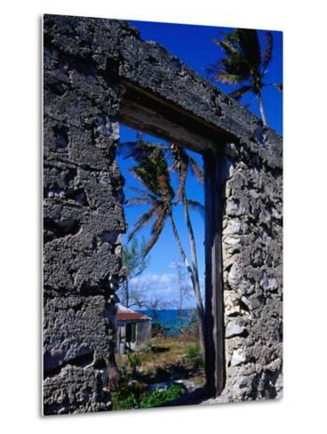 The View from an Abandoned Old Settlement Building by the Shore, Cat Island, Bahamas-Greg Johnston-Metal Print