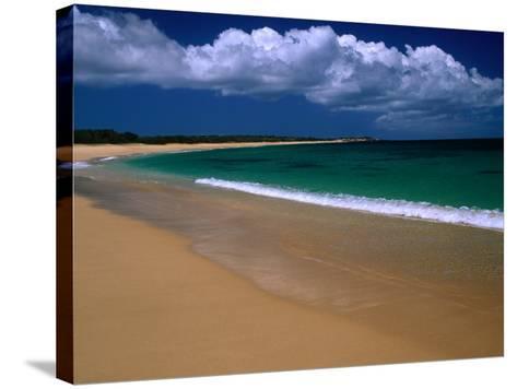 Popohaku Beach is the Longest Beach on Molokai's West End, Molokai, Hawaii, USA-Ann Cecil-Stretched Canvas Print