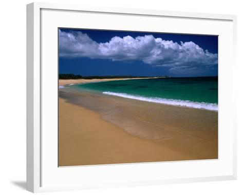 Popohaku Beach is the Longest Beach on Molokai's West End, Molokai, Hawaii, USA-Ann Cecil-Framed Art Print