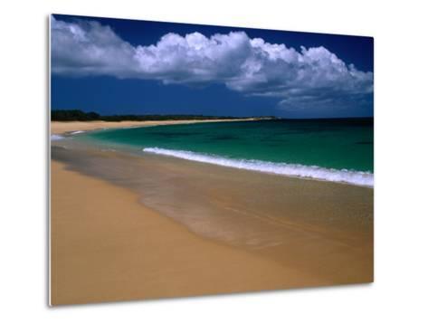 Popohaku Beach is the Longest Beach on Molokai's West End, Molokai, Hawaii, USA-Ann Cecil-Metal Print
