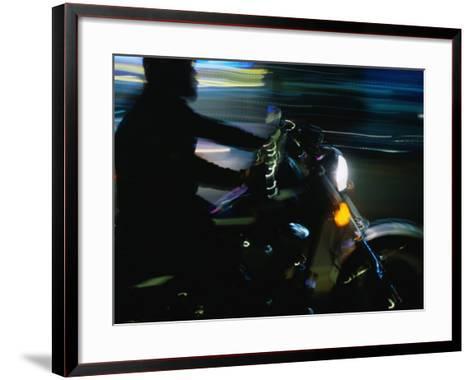 Motorbike on Main Street at Bike Week, Daytona Beach, Florida, USA-Lawrence Worcester-Framed Art Print