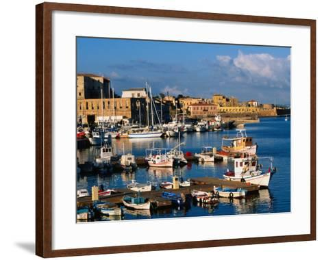 Fishing Boats Moored in Harbour,Hania, Crete, Greece-John Elk III-Framed Art Print