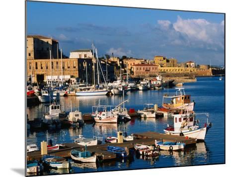 Fishing Boats Moored in Harbour,Hania, Crete, Greece-John Elk III-Mounted Photographic Print