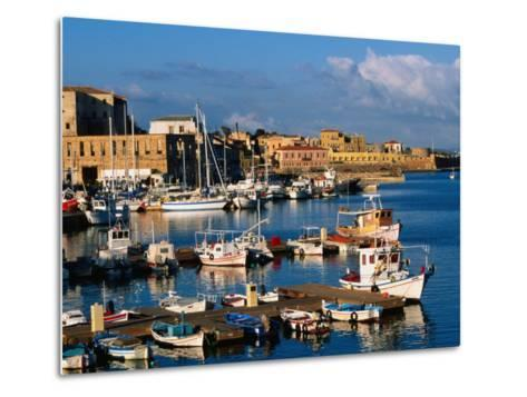 Fishing Boats Moored in Harbour,Hania, Crete, Greece-John Elk III-Metal Print