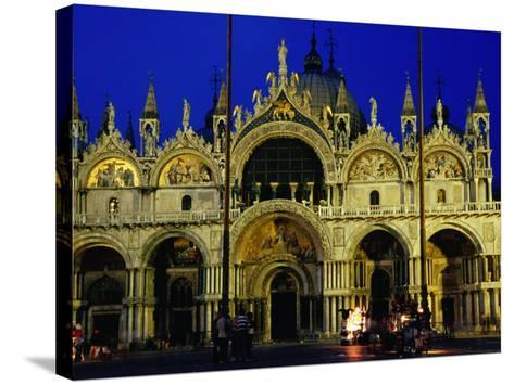 Night View of the Basilica Di San Marco, Venice, Veneto, Italy-Glenn Beanland-Stretched Canvas Print