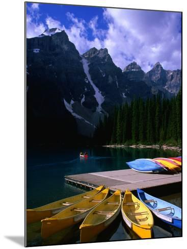 Canoeing on Moraine Lake, Banff National Park, Alberta, Canada-Lawrence Worcester-Mounted Photographic Print