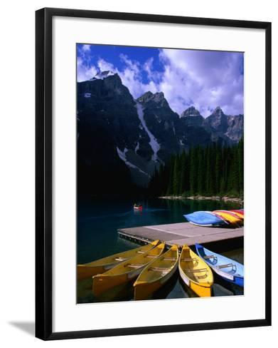 Canoeing on Moraine Lake, Banff National Park, Alberta, Canada-Lawrence Worcester-Framed Art Print
