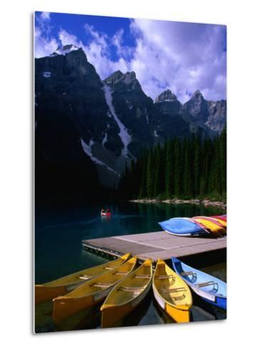 Canoeing on Moraine Lake, Banff National Park, Alberta, Canada-Lawrence Worcester-Metal Print
