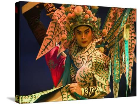Performer in Chinese Opera, Sheng Hong Temple, Singapore, Singapore-Michael Coyne-Stretched Canvas Print