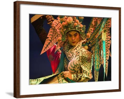 Performer in Chinese Opera, Sheng Hong Temple, Singapore, Singapore-Michael Coyne-Framed Art Print