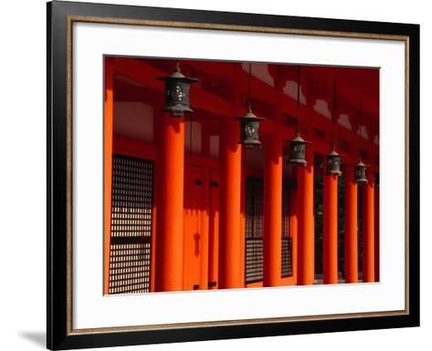Lanterns and Red Pillars on Replica of Imperial Palace at Heian-Jingu Shrine, Kyoto, Japan-Martin Moos-Framed Art Print