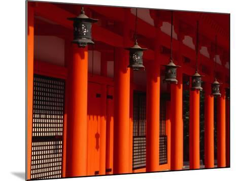 Lanterns and Red Pillars on Replica of Imperial Palace at Heian-Jingu Shrine, Kyoto, Japan-Martin Moos-Mounted Photographic Print