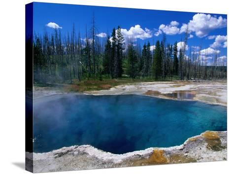 Steam Rising from Abyss Pool in West Thumb Geyser Basin, Yellowstone National Park, USA-John Elk III-Stretched Canvas Print