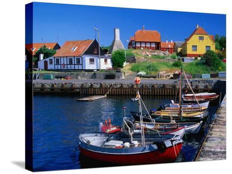 Small Village Harbour, Gudhjem, Bornholm, Denmark-Anders Blomqvist-Stretched Canvas Print