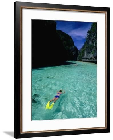 Snorkelling in the Big Lagoon, El Nido, Miniloc Island, Palawan, Philippines-Mark Daffey-Framed Art Print