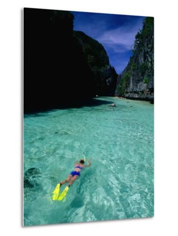 Snorkelling in the Big Lagoon, El Nido, Miniloc Island, Palawan, Philippines-Mark Daffey-Metal Print